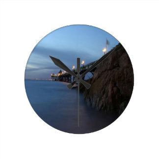 Water Nightime Pier Shot Round Clocks