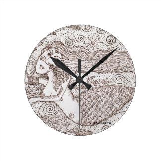 Water Nymph Ukrainian Folk Art Round Clock