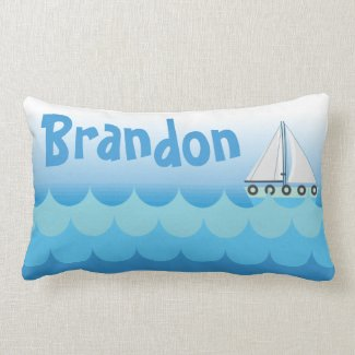 Water Ocean Sea Boat Sailing Baby Boy Name Lumbar Pillow