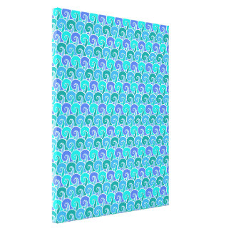 Water Ocean Waves in Blue Nautical Beach Pattern Canvas Print