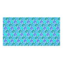 Water Ocean Waves in Blue Nautical Beach Pattern Card