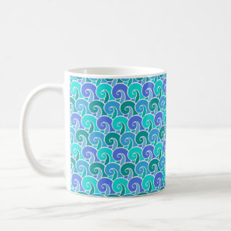 Water Ocean Waves in Blue Nautical Beach Pattern Coffee Mug