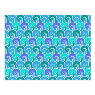 Water Ocean Waves in Blue Nautical Beach Pattern Postcard
