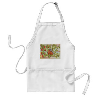 Water of Red Robin Eating Red Berries Adult Apron