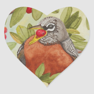 Water of Red Robin Eating Red Berries Heart Sticker