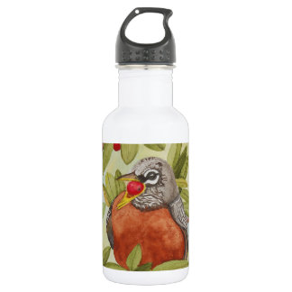 Water of Red Robin Eating Red Berries Stainless Steel Water Bottle