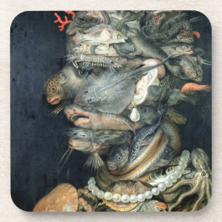 Water, (oil on canvas), Arcimboldo, Giuseppe Beverage Coaster