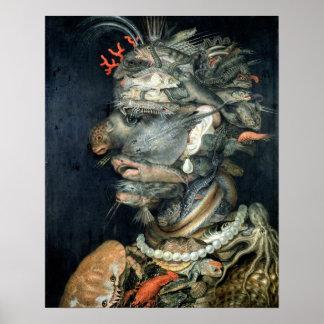 Water, (oil on canvas), Arcimboldo, Giuseppe Poster