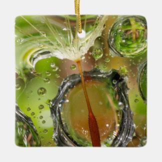 Water on dandelion seed, CA Ceramic Ornament