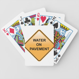 Water on Pavement Sign Flooded Area Bicycle Playing Cards