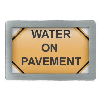 Water on Pavement Sign Flooded Area Rectangular Belt Buckle