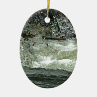 Water on the run Double-Sided oval ceramic christmas ornament