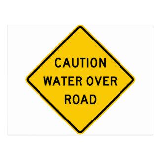 Water Over Road Highway Sign Postcard