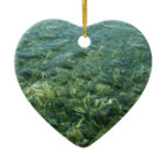 Water over Sea Grass I Blue and Green Nature Photo Ceramic Ornament