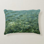 Water over Sea Grass I Blue and Green Nature Photo Decorative Pillow