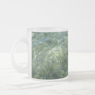 Water over Sea Grass I Blue and Green Nature Photo Frosted Glass Coffee Mug
