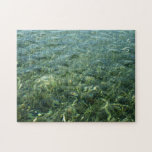 Water over Sea Grass I Blue and Green Nature Photo Jigsaw Puzzle