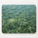 Water over Sea Grass I Blue and Green Nature Photo Mouse Pad