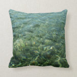 Water over Sea Grass I Blue and Green Nature Photo Throw Pillow