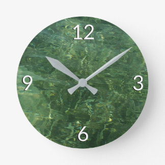 Water over Sea Grass II (Blue and Green) Photo Round Clock