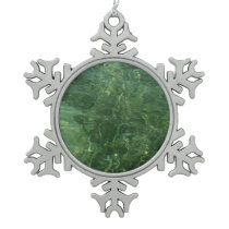 Water over Sea Grass II (Blue and Green) Photo Snowflake Pewter Christmas Ornament