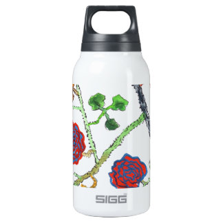water paint flower insulated water bottle
