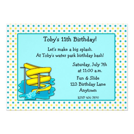 Personalized Water park party Invitations – Water Park Party Invitations