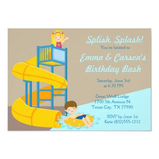 Water Park Birthday Kids Water Slide Pool Party Card