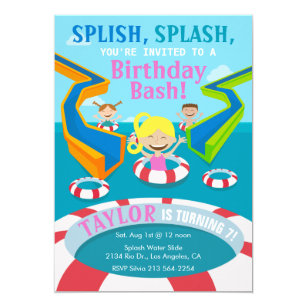 Water party invitations zazzle water park girl swimming birthday party invitation filmwisefo