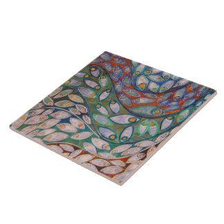 """""""Water Peacocks"""" (painting) Tile"""