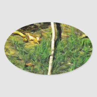 Water pipe in a garden oval sticker