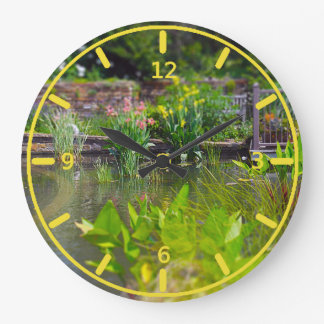 Water Plants in Pond Powell Gardens, Kansas City Large Clock