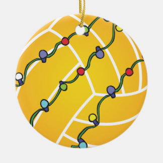 Water Polo Ball With Lights Holiday Oranament Double-Sided Ceramic Round Christmas Ornament