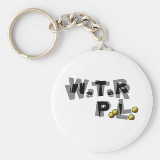 Water polo blur basic round button keychain
