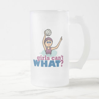 Water Polo Girl Frosted Glass Beer Mug