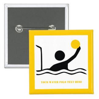 Water polo player black silhouette custom 2 inch square button