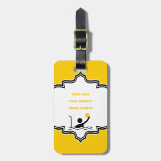 Water polo player black silhouette custom bag tag
