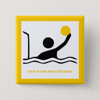 Water polo player black silhouette custom button
