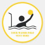 Water polo player black silhouette custom classic round sticker