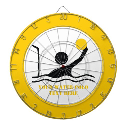 Water polo player black silhouette custom dartboard