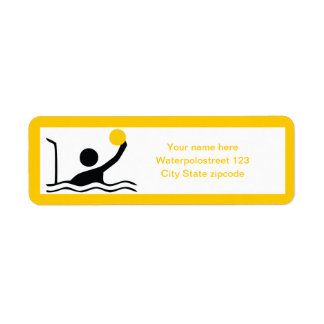 Water polo player black silhouette custom label