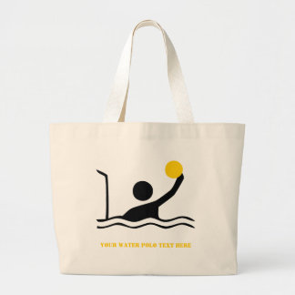 Water polo player black silhouette custom large tote bag