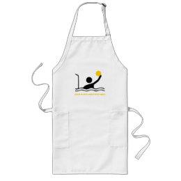 Water polo player black silhouette custom long apron