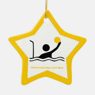 Water polo player black silhouette custom ornaments