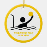 Water polo player black silhouette custom Double-Sided ceramic round christmas ornament