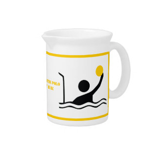 Water polo player black silhouette custom pitcher