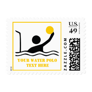 Water polo player black silhouette custom postage