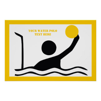 Water polo player black silhouette custom poster