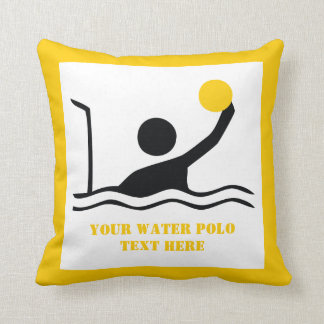 Water polo player black silhouette custom throw pillow