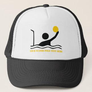 Water polo player black silhouette custom trucker hat
